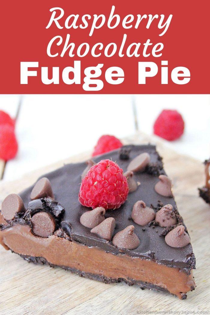 Raspberry Chocolate Fudge Pie for pinterest