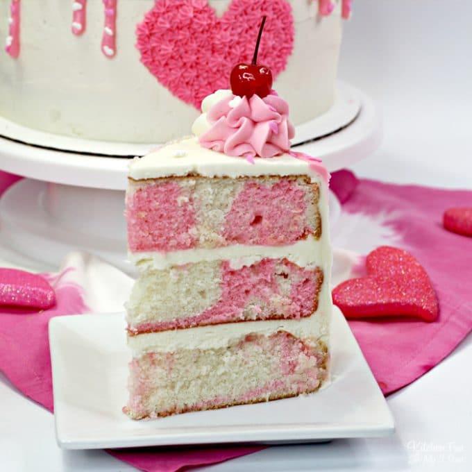 Slice of Marbled Valentine Cake