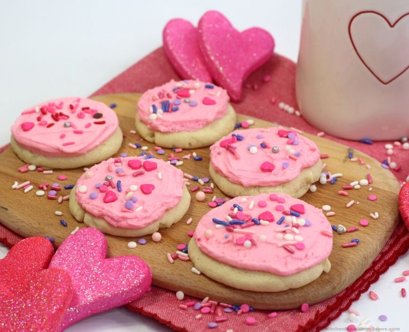 Valentines Day Lofthouse Cookies on a board