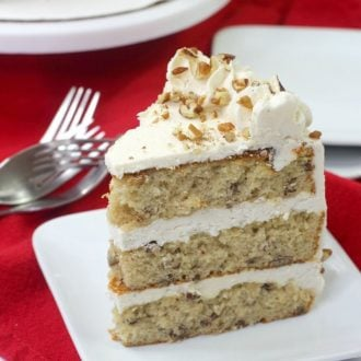 brown butter pecan cake on a white plate
