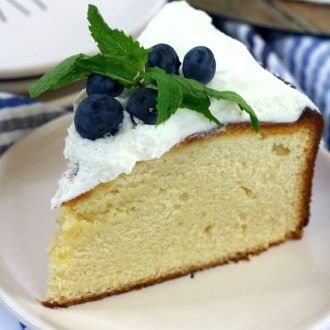 easy custard cake on a white plate