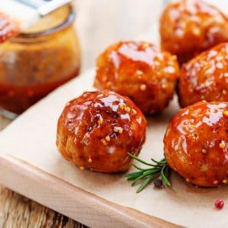 Glazed Firecracker Chicken Meatballs