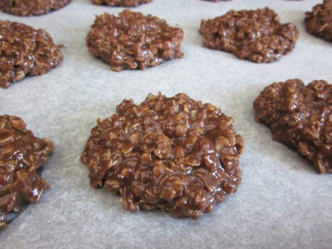 No Bake Cookies on parchment paper