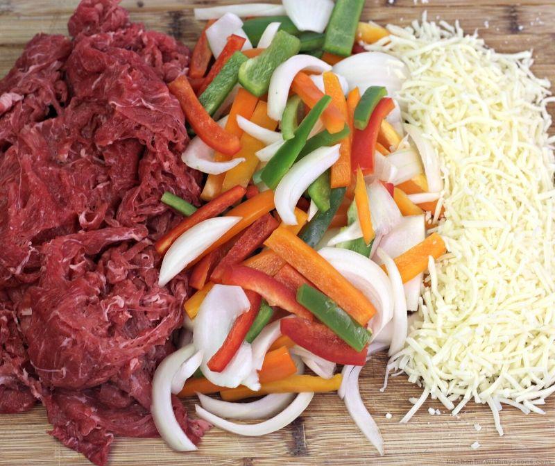 ingredients for cheesesteak casserole