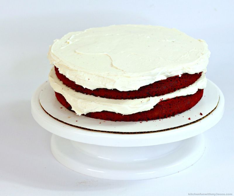 red velvet cake layers with cream cheese frosting