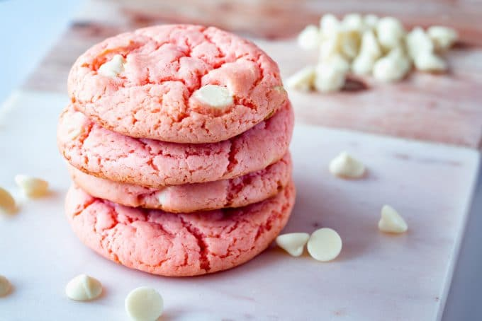 Strawberry White Chocolate Chip Cookies Stacked