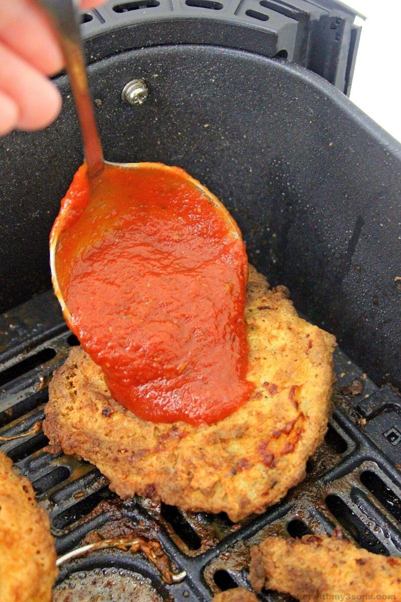 Sauce on the chicken