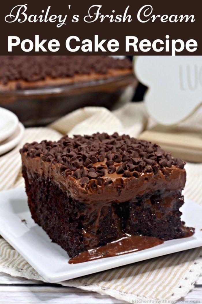 Bailey's Irish Cream Poke Cake for pinterest