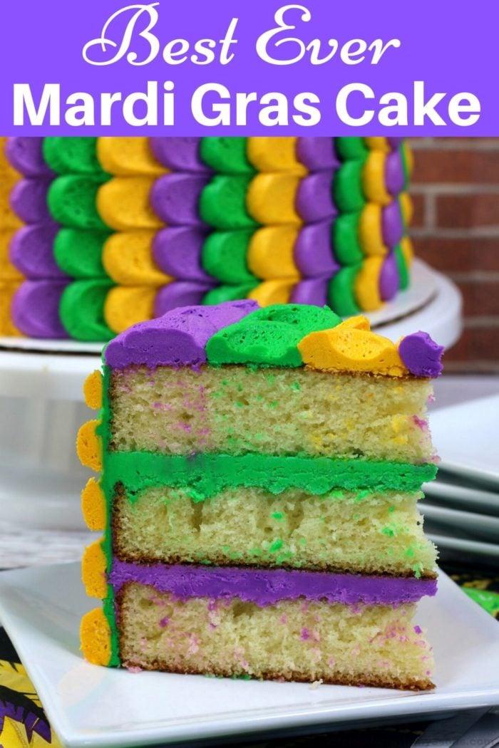 Best Ever Mardi Gras Cake Recipe for pinterest