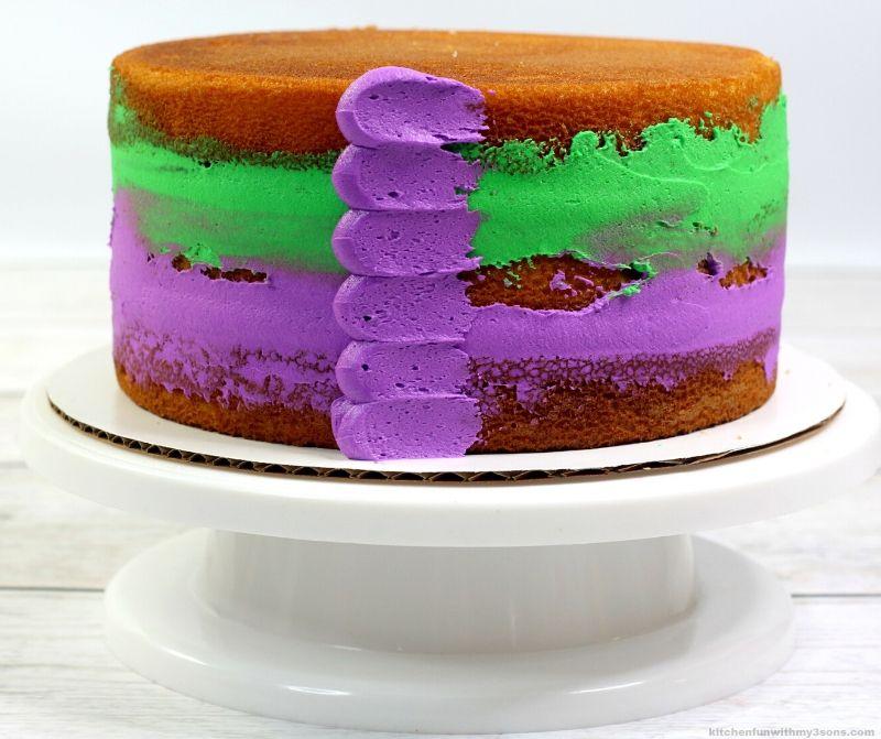 the start of decorating the mardi gras cake