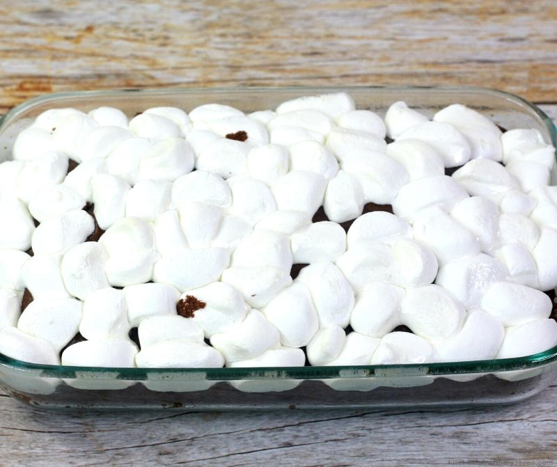 melted marshmallows on top of a cake