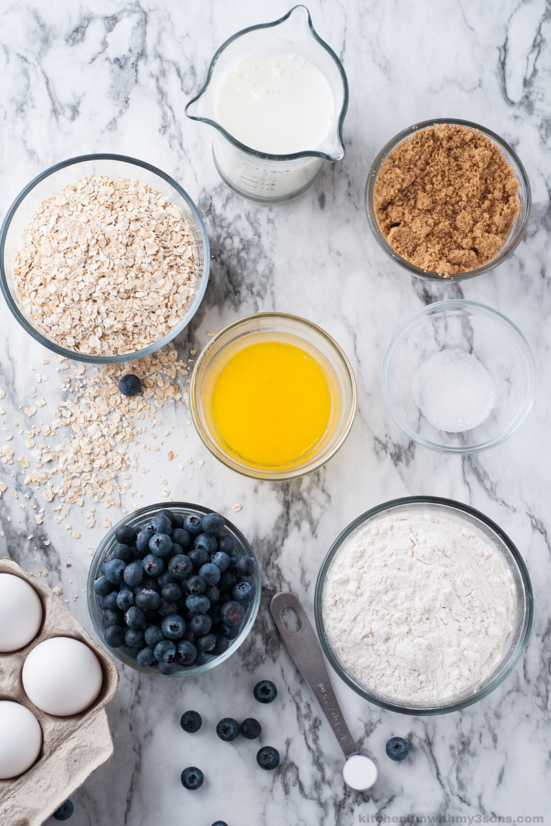 Ingredients for Blueberry Oatmeal Muffins Recipe