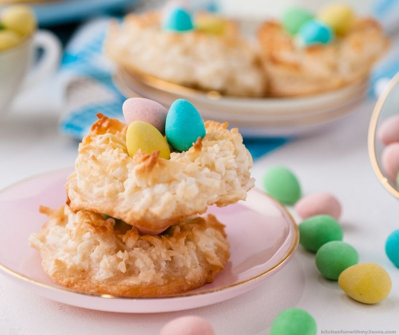 2 Coconut Macaroons Recipe Easter Birds Nests stacked on a plate
