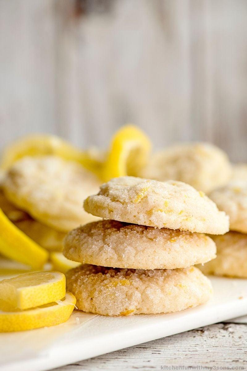 Easy Lemon Sugar Cookies in a stack