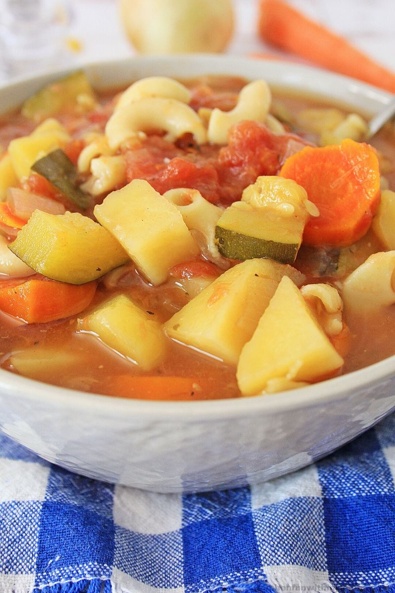Easy Minestrone Soup on a white bowl