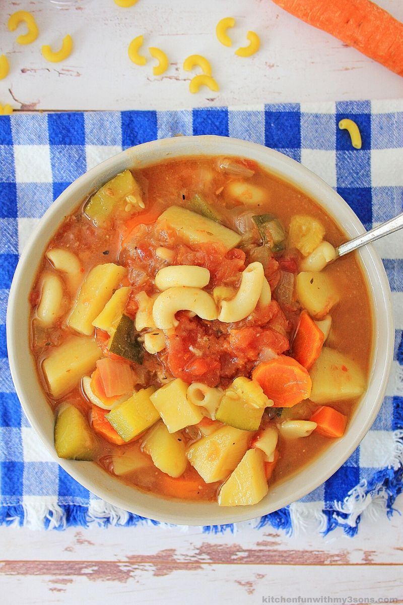 Easy Minestrone Soup in a white bowl