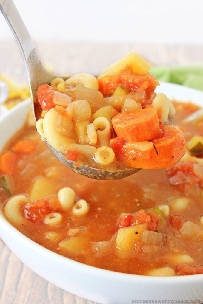 Easy Minestrone Soup on a spoon