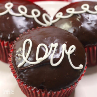 Chocolate Valentine Cupcakes with Cream Filling