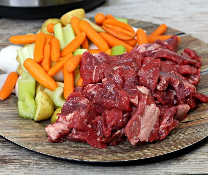 vegetables and beef for beef stew