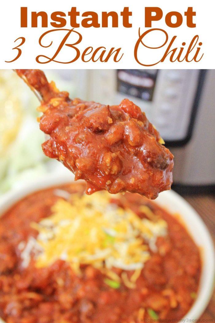 Instant Pot Three Bean Chili Recipe for pinterest