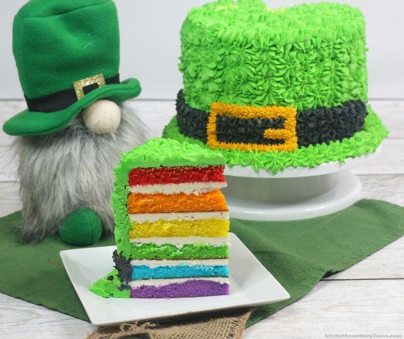 Rainbow layered Leprechaun Hat St. Patrick's Day Cake