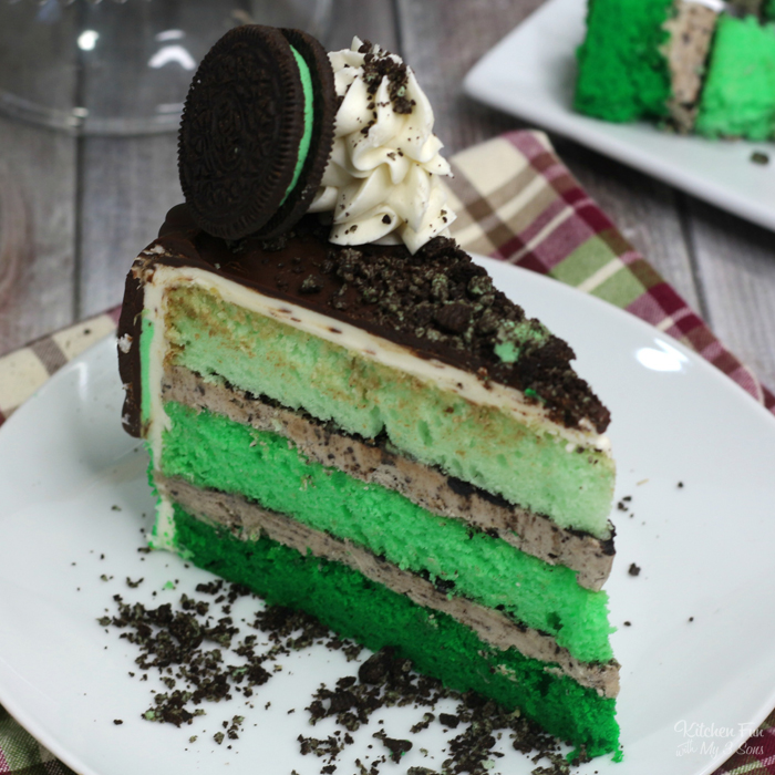 Mint Oreo Cake is a triple layer vanilla cake with layers of creamy Oreo frosting. This is a dessert that will wow anyone who takes a bite.