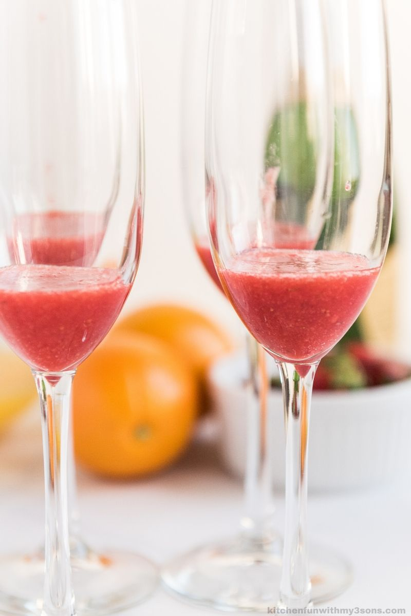 strawberry puree in a glass