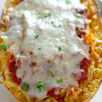 Cheesy Stuffed Spaghetti Square with Meat Sauce
