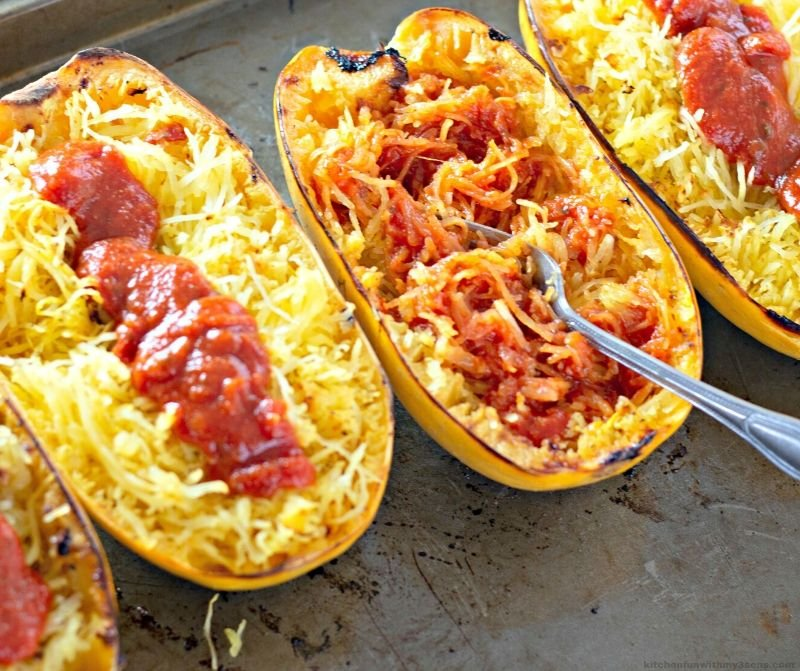 Stuffed Spaghetti Squash with Meat Sauce