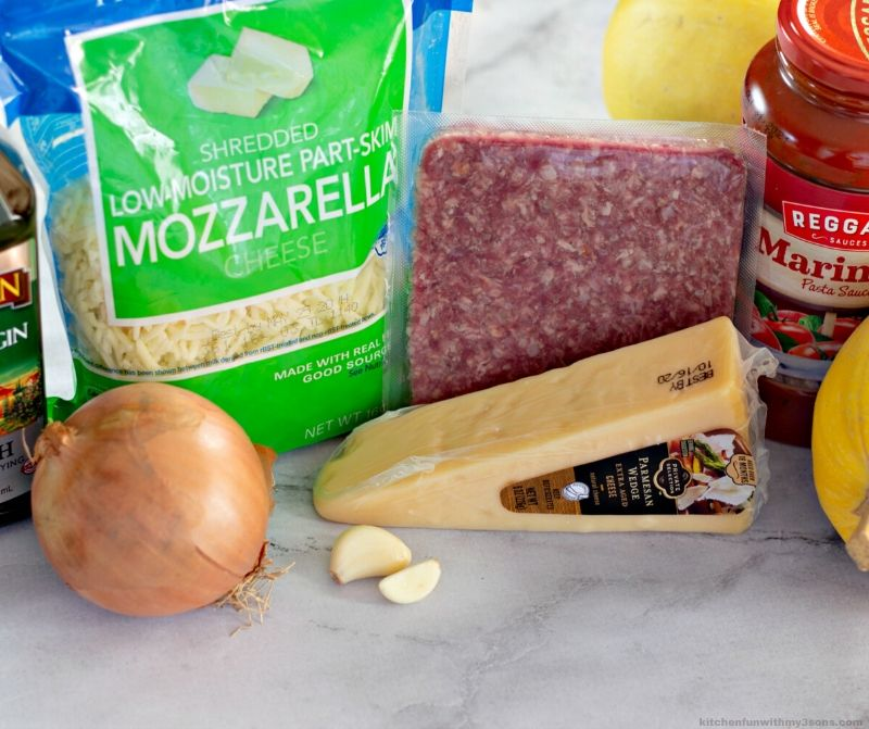 ingredients for Stuffed Spaghetti Squash with Meat Sauce