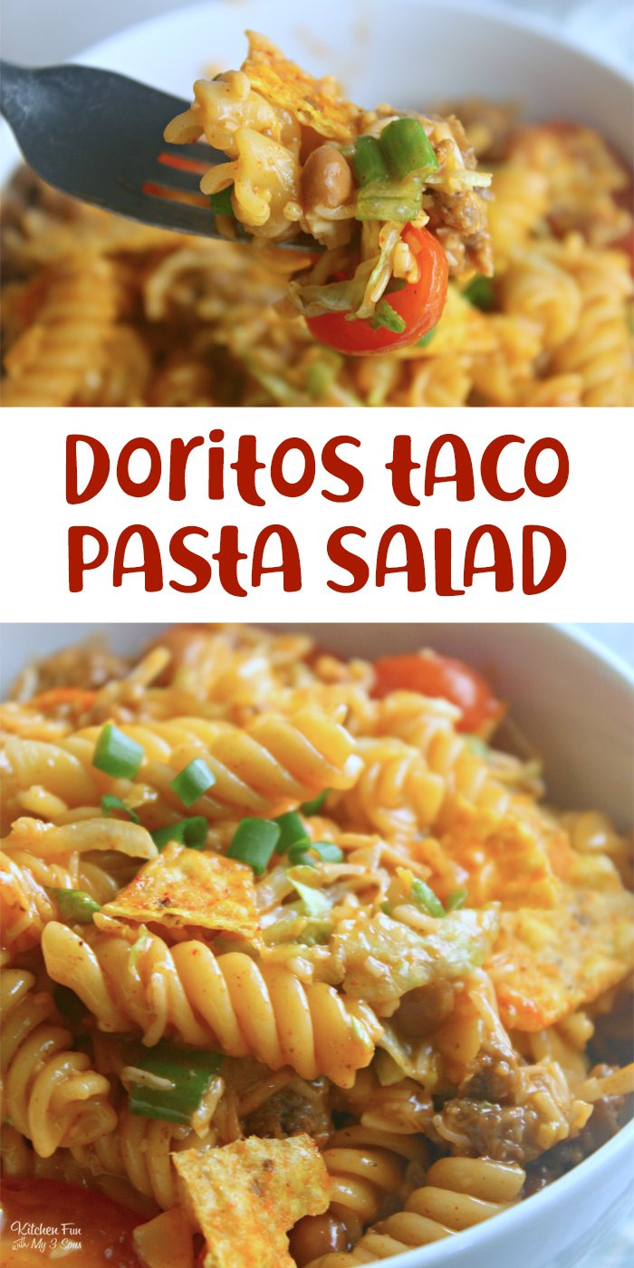 Taco Pasta Salad is an easy pasta salad recipe we love serving at get-togethers. This hearty salad has one secret ingredient that gives it extra flavor and crunch: Nacho Cheese Doritos.