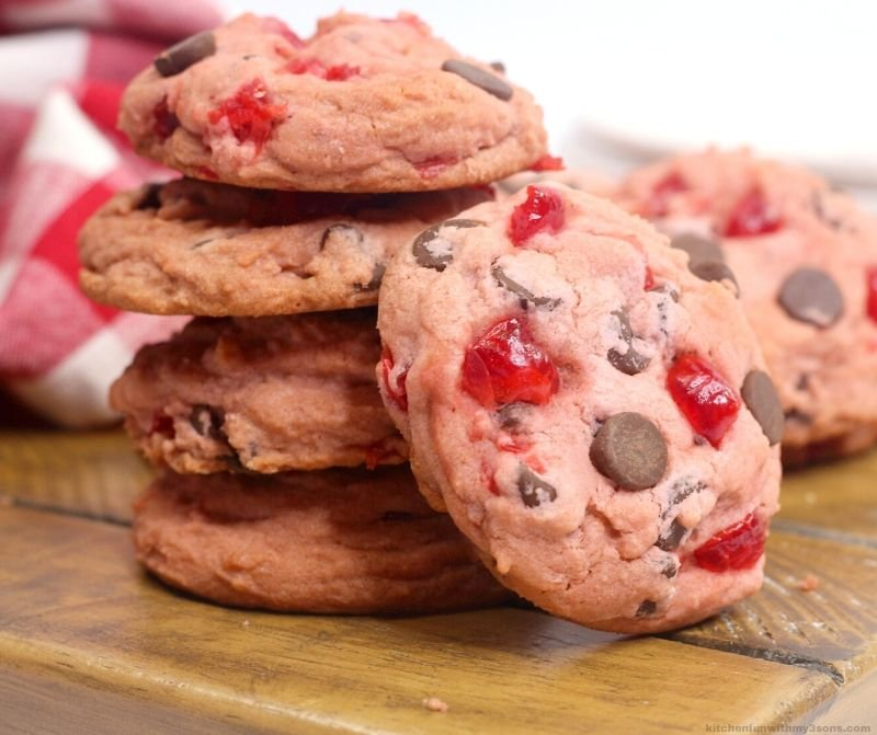 cherry chocolate chip cookies in a stack
