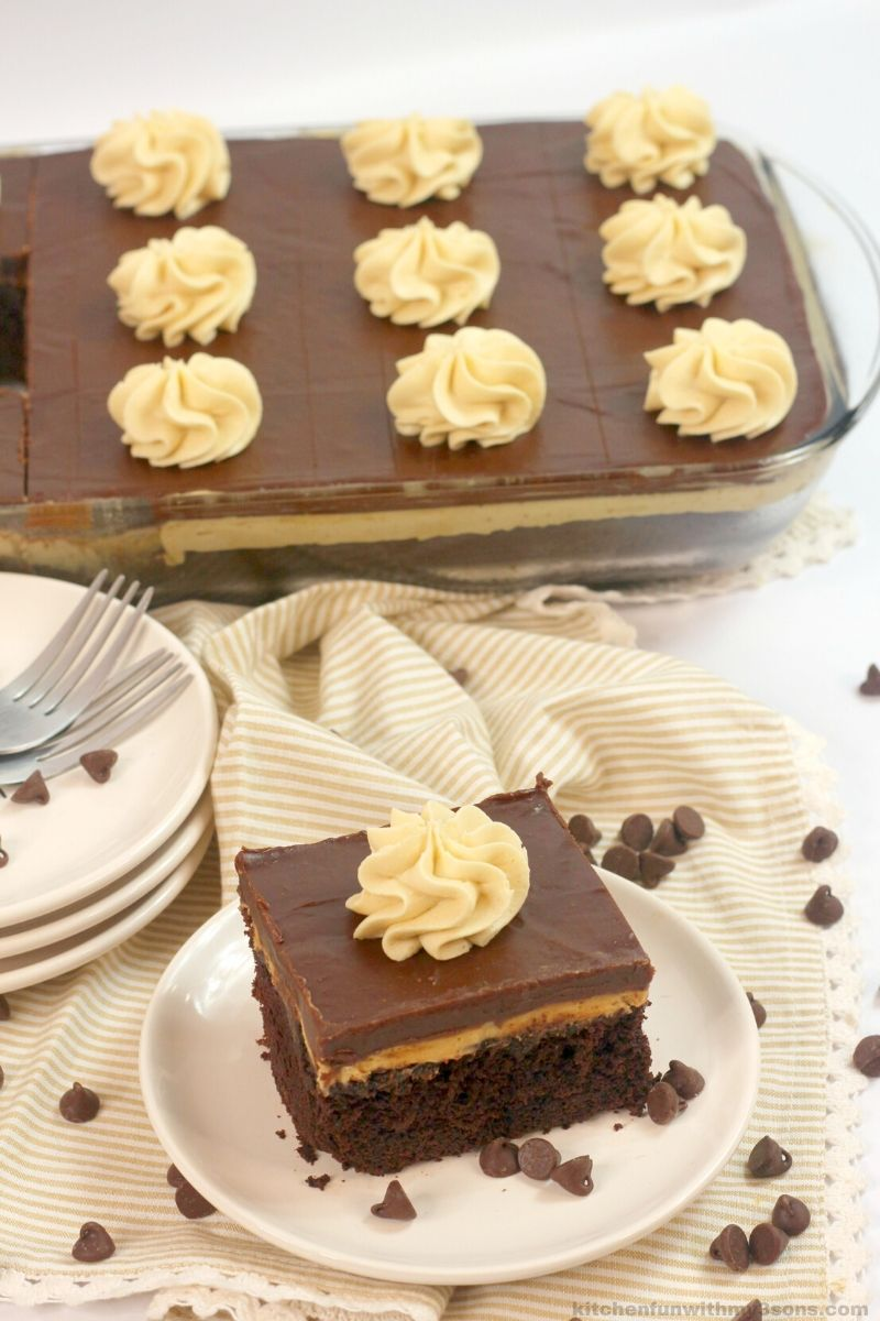 Texas chocolate peanut butter cake on a white plate