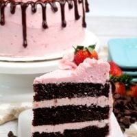 Dark Chocolate Strawberry Cake