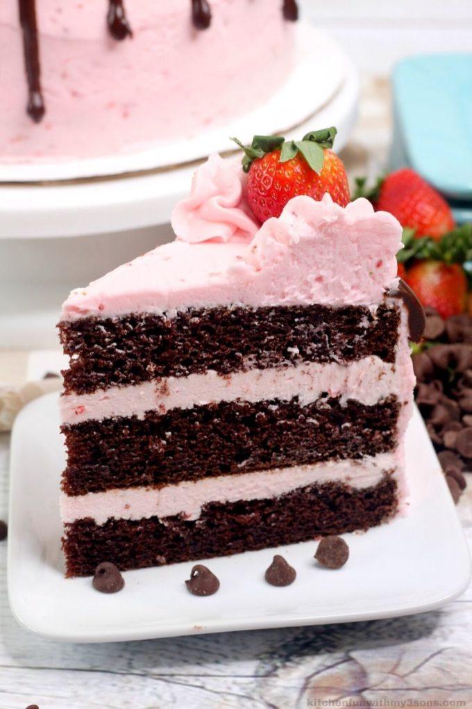 slice of chocolate strawberry cake