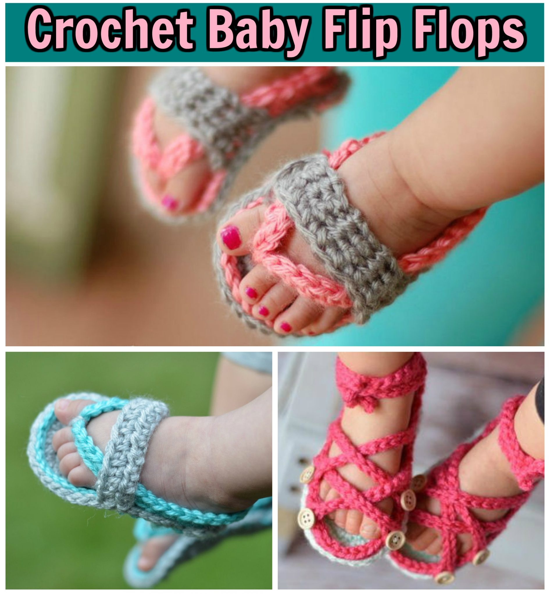Crochet Baby Flip Flops - Kitchen Fun