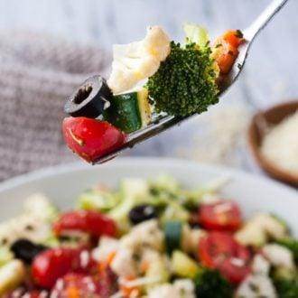detox salad on a fork