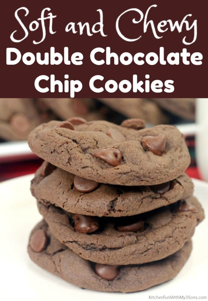 Soft and Chewy Double Chocolate Chip Cookies
