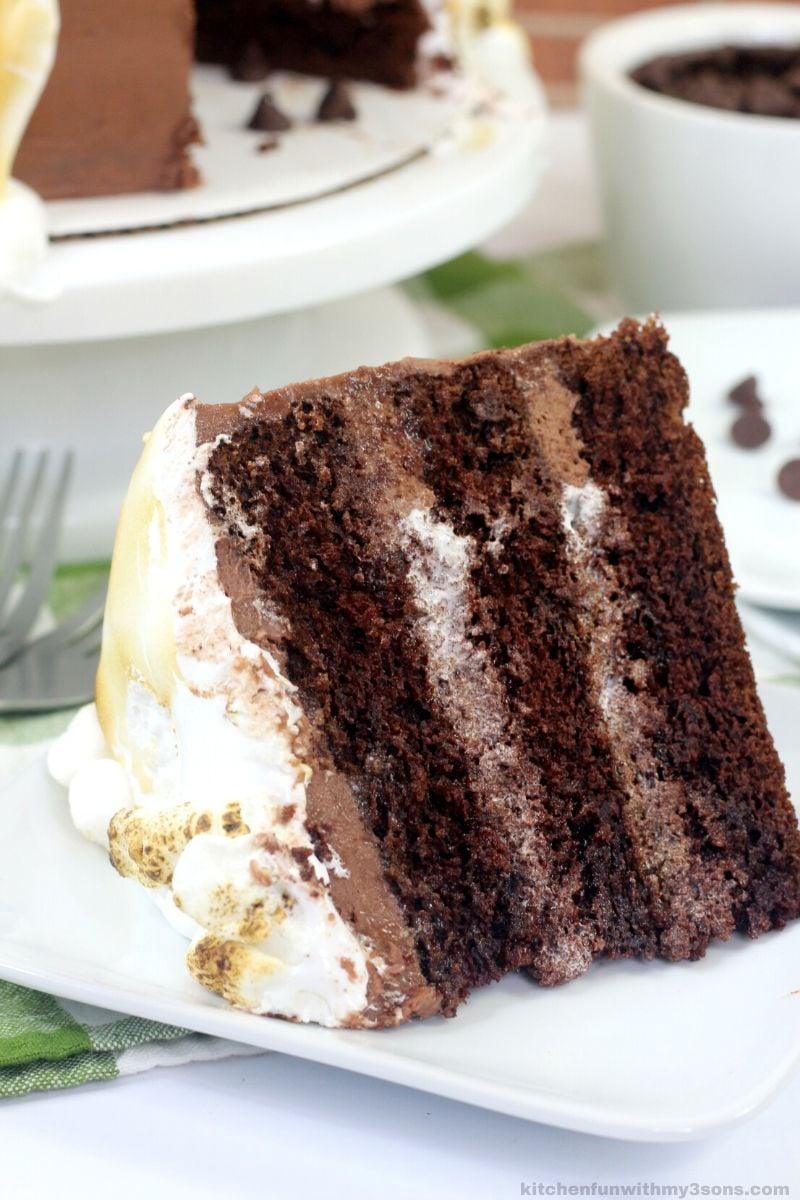 hot chocolate cake slice on a plate