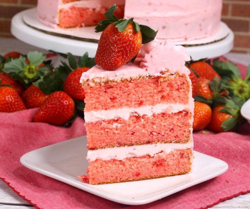 slice of layered strawberry cake recipe