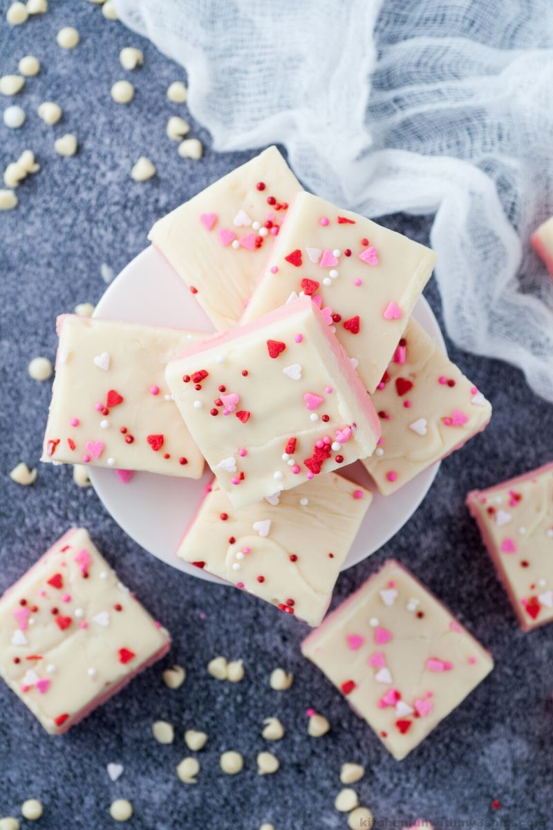 slices of white chocolate fudge for Valentien's Day