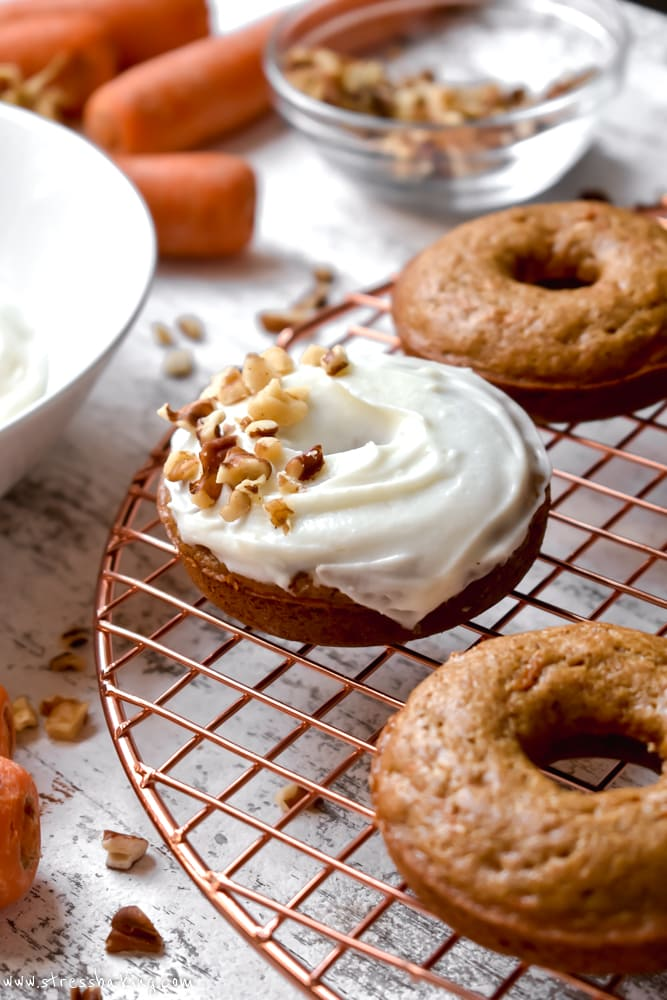 Carrot Cake Donuts with Cream Cheese Icing