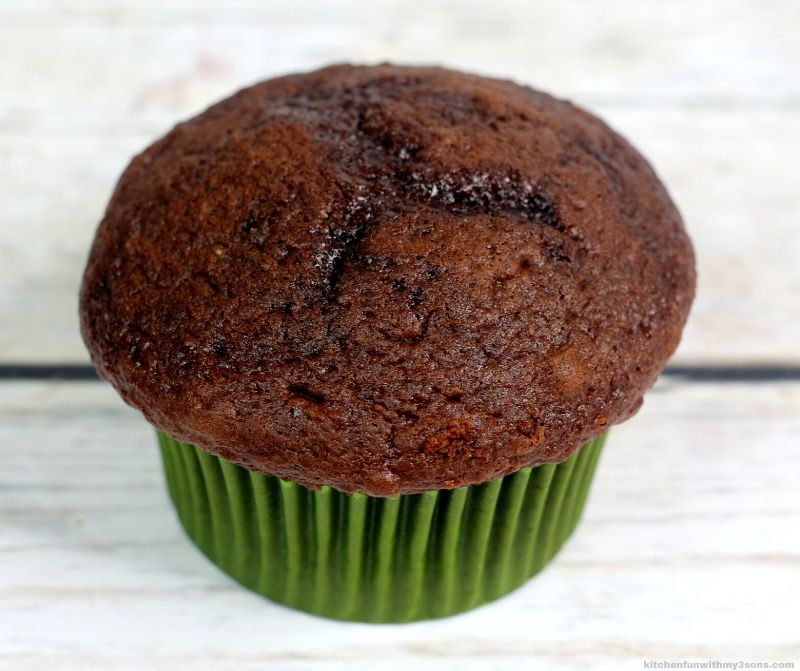 chocolate cupcake with green wrapper