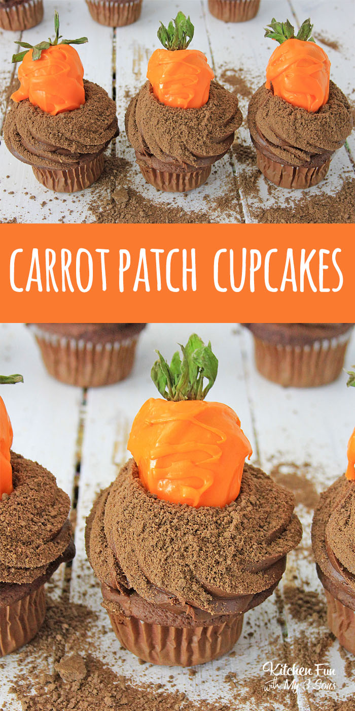 Carrot Patch Cupcakes really look like fresh carrots bursting out of the ground! These are the perfect spring dessert or a fun recipe for Easter.