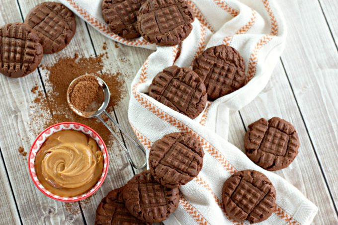 Chocolate Peanut Butter Cookies on a white and brown towel