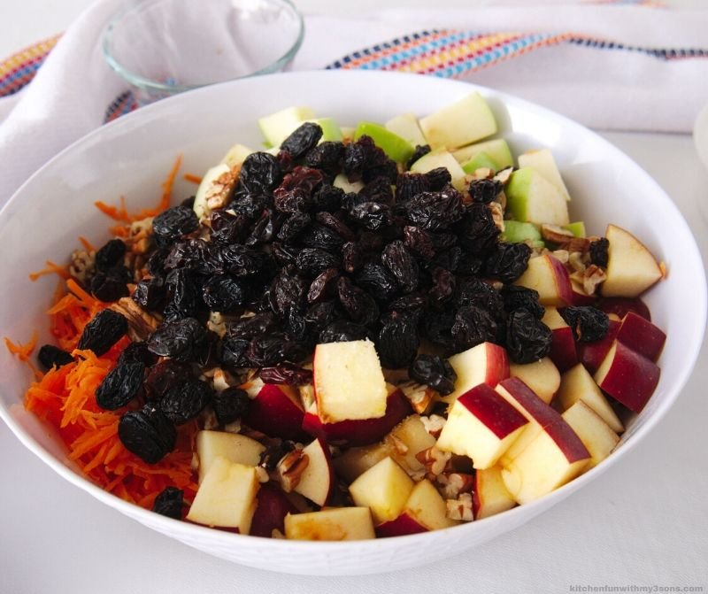Mexican apple pecan salad ingredients in a bowl