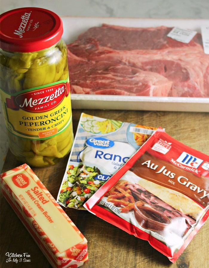 Ingredients for a Slow Cooker Freezer Mississippi Pot Roast