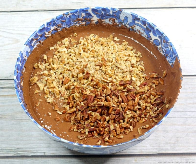 chocolate batter with walnuts