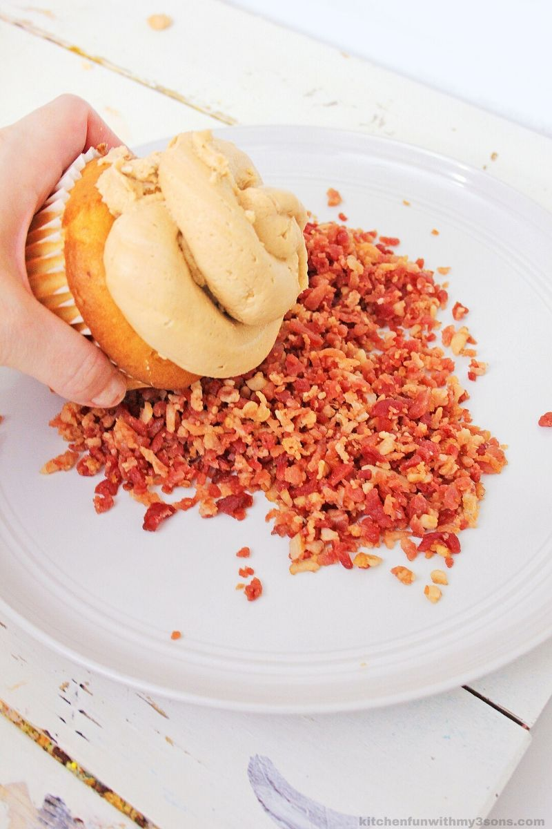 roll the cupcake in bacon