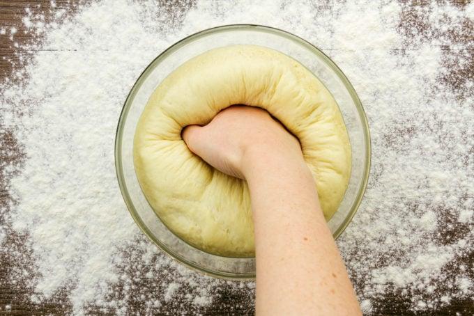 Punching Rising Bread Dough